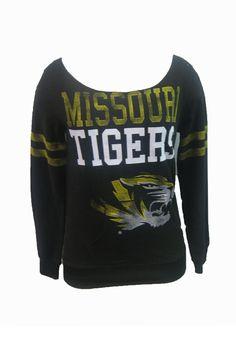 Missouri (Mizzou) Tigers Womens Crew Sweatshirt - Black Tigers Sideline Long Sleeve Sweatshirt http://www.rallyhouse.com/shop/missouri-tigers-18460017 $34.99
