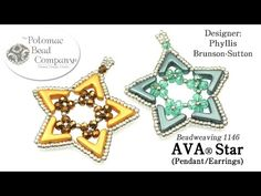 Allie teaches Phyllis Brunson-Sutton's AVA® Star design (earrings or pendant). Find supplies from Potomac Bead Company (www.potomacbeads.com)