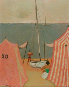 Alberto Morrocco - Bathing Tent and Boat, Manchester Art Gallery Manchester Art, Boat Art, Italian Artist, Art Uk, Your Paintings, Figure Painting, Figurative Art, Illustration Art, Illustrations