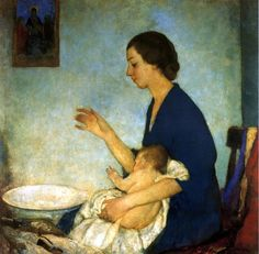 Hawthorne_Charles Webster -the bath emelyn nickerson with  baby
