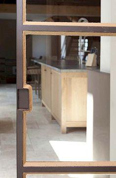 Dirk Cousaert - Furniture Design & Creation - Detail sliding door iron and glass - Discover more at www.dirkcousaert.be