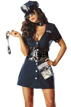 Deep-V One-piece Skirt Police Costume