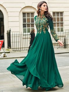 Pine Green Faux Georgette Embroidered Party Lawn Kameez