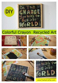 Unique Crayon Recycled Art Project, Write a word, quote or names, awesome for home decor! Kids LOVE this project! #summercraft #crafttutorial #crayon #recycled #craft www.trashycrafter.com