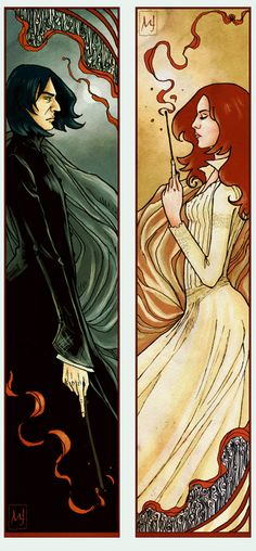 This is probably one of my favorite prints. It is simply beautiful and as a hard core Snape fan, slightly heart breaking. I thinks the symmetry and yet asymmetry really helps illustrate their relation ship. Plus you gotta love the Art Nouveau vibe. :)