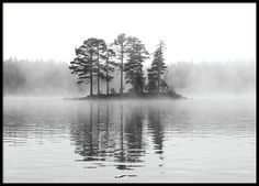Stylish black and white poster with beautiful photo of an island in the water and mysterious fog. www.desenio.com