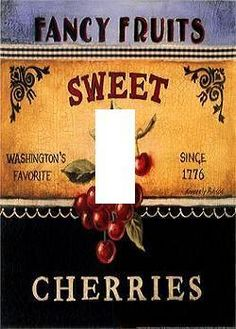 CHERRIES  }  LIGHT SWITCH PLATE COVER HOME DECOR FRUIT