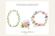 Watercolor Digital Clipart 3 PNG Hand Painted by michLgstudios