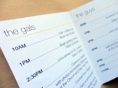 wedding timeline pocket schedule by SimplYou Design for Danielle Pasternak Wedding Coordinator