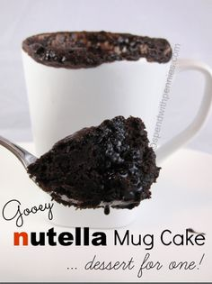 This recipe for Nutella Mug Cake is made in the microwave and one of the best mug cake recipes you& find! It& the perfect sized snack for Nutella lovers! Mug Cake Microwave, Microwave Recipes, Microwave Food, Just Desserts, Delicious Desserts, Yummy Food, Healthy Food, Sweet Recipes, Cake Recipes
