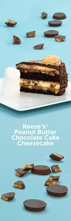 Chunks of Reese's® Peanut Butter Cups in our Original Cheesecake with Layers of Delicious Fudge Cake and Caramel. Fudge Cake, Cake Bars, Pie Cake, Yummy Treats, Delicious Desserts, Sweet Treats, Yummy Food, Cheesecake Factory Desserts, Cheesecake Recipes