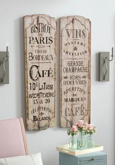 Parus Cafe Wood Signs, Set of 2, Bistro Signs, French Country, French Farmhouse, Kitchen, Dining, Wall Decor, Wall Art, Home Decor #ad