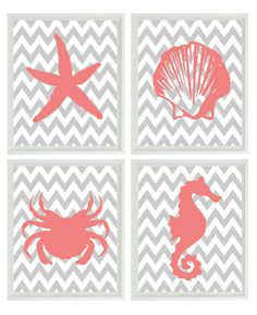 Beach Nautical Chevron Sea Creature Art Print Set - Pink Gray Nursery Girl - Crab Shell Starfish Seahorse  - Wall Art Home Decor Set 4 8x10. $50.00, via Etsy.