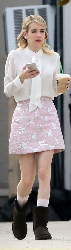 Emma Roberts – 'Scream Queens' Set Photos, March 2015