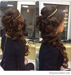 quince hairstyles with crown Updo is part of Absolutely Stunning Quinceanera Hairstyles With Crown - Side curls with crown hairstyle for Pakistani brides Quince Hairstyles, Cute Prom Hairstyles, Engagement Hairstyles, Up Hairstyles, Bridal Hairstyles, Graduation Hairstyles, Wedding Hair And Makeup, Hair Makeup, Bride Makeup