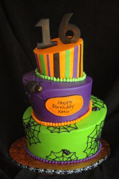 """Sweet 16 Halloween - BC Topsy turvy, 6"""", 8"""", 10"""", fondant spider and striping, chocolate 16 and mini spiders"""