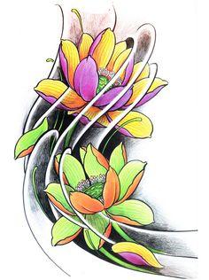 $4.95 Japanese Snake Tattoo, Japanese Flower Tattoo, Japanese Flowers, Clover Tattoos, Rose Tattoos, Leg Tattoos, Lotus Tattoo Design, Flower Tattoo Designs, Mascara Hannya
