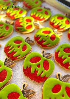 Call or email to order your celebration cookies today. Click the link below for more information. Apple Cookies, Sugar Cookies, Snow White Poison Apple, Poison Apples, Halloween Desserts, Royal Icing Cookies, Cookie Designs, Custom Cookies, Dessert Table