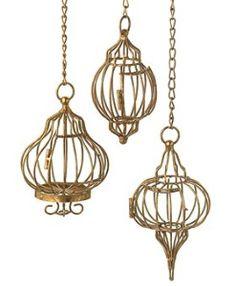 Golden Birdcages Hanging Pendant Decor - Set of 3 | Shop interior_design, home | Kaboodle