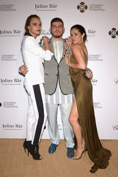 Pin for Later: Katie Holmes Isn't Alone in Looking Like She's Walking Down the Aisle Cara Delevingne, Eli Mizrahi, and Selena Gomez Cara Delevingne in Emilio Pucci, Eli Mizrahi, and Selena Gomez in Emilio Pucci at the Leonardo DiCaprio Foundation gala.