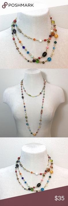 OOAK Bead Soup Necklace Extra long rosary style gold tone chain with all kinds of beads, gemstones, pearls, poly, and glass.  Lobster clasp closure.  One of a kind statement necklace. Jewelry Necklaces