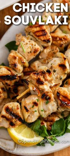 This Chicken Souvlaki recipe is quick and easy to prepare. Chicken and onions are tossed in a homemade marinade and left to chill for a few hours before being threaded onto a skewer and grilled. ~ Spend With Pennies Grilling Recipes, Cooking Recipes, Healthy Recipes, Vegetarian Grilling, Healthy Grilling, Barbecue Recipes, Barbecue Sauce, Vegetarian Food, Shawarma