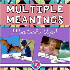 FREE. Introduce your students to homonyms with this memory game! 24 pairs of photo cards with short, concise definitions of multiple meaning words.