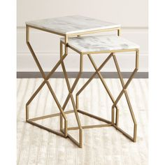 Reagan Nesting End Tables ($399) ❤ liked on Polyvore featuring home, furniture, tables, accent tables, matte brass, handcrafted furniture, handmade tables, nested end tables, nesting tables and stackable furniture
