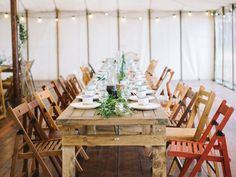 Our old door trestle tables look really lovely with out mismatch folding chairs....