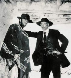 Lee Van Cleef poses with Clint Eastwood on location in Spain - Directed by Sergio Leone - Publicity Still. Lee Van Cleef, Scott Eastwood, Hollywood Stars, Classic Hollywood, Old Hollywood, Hollywood Actresses, O Cowboy, Westerns, Sergio Leone