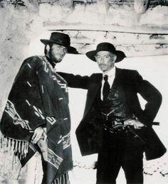 Lee Van Cleef poses with Clint Eastwood on location in Spain - Directed by Sergio Leone - Publicity Still. Lee Van Cleef, Scott Eastwood, Western Film, Western Movies, O Cowboy, Peliculas Western, Westerns, Sergio Leone, The Lone Ranger