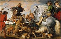 Peter Paul Rubens (Flemish, 1577–1640) and Workshop. Wolf and Fox Hunt, ca. 1616. The Metropolitan Museum of Art, New York. John Stewart Kennedy Fund, 1910 (10.73) #horses