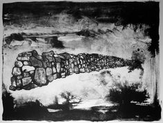 Lithograph Stone Wall black and white tusche washes by ANKarabin, $100.00