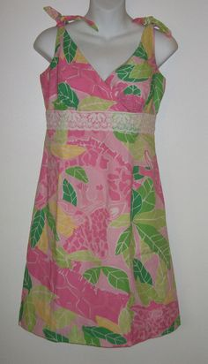 Lilly Pulitzer Dress Size 6 Ladies Pink Green Beach Brunch Juice Party Spring #LillyPulitzer #Shift #Casual
