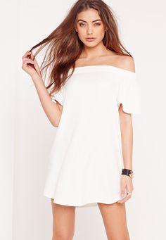 Missguided - Bardot Shift Dress White