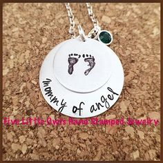 Handstamped mommy to an angel, infant Loss, mother jewelry, stillborn, miscarriage personalized necklace  on Etsy, $34.00
