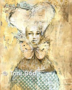 """""""queen for a day"""" Getting back into a bit more collage (my first love!), and trying out my new pastels. #queenforaday #collage #mixedmediaart #mixedmedia #softpastel #toniburt #toniburtartist #queen #marieantoinette"""