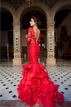 Red Lace Long Sleeves Mermaid Evening Gown with Ruffles Skirt. Mexican DressesEvening  GownsMermaid ... aef15ec16654
