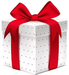 White Dotted Gift Box with PNG Clipart Image