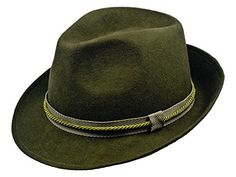 c6041047e2a51 Sterkowski Sheep Wool Felt Men s Classic Hunting Trilby Hat US 7 3 8 Green