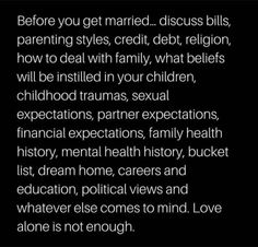 Parenting Styles, Political Views, Lovey Dovey, Hopeless Romantic, Enough Is Enough, Trauma, Got Married, Mental Health, Religion