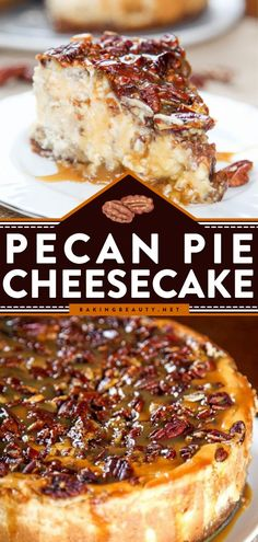 Pecan Pie Cheesecake is a creamy brown sugar cheesecake topped with a decadent pecan pie filling. This Christmas in July dessert is decadently delicious! Add this recipe to your list of Christmas in… Pecan Pie Cheesecake, Cheesecake Desserts, Just Desserts, Delicious Desserts, Yummy Food, Pie Recipes, Dessert Recipes, Yummy Recipes, Essen