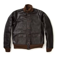 The Real McCoy horsehide jacket. Military Men, Military Jackets, Varsity Jackets, Leather Flight Jacket, Leather Jackets, Vest Jacket, Bomber Jacket, Thing 1, Engineered Garments