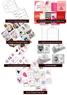 Love Themed PLR Bundle - Printable Bundle: POD Graphics, Journals, Card Deck Love Journal, Journal Design, Card Deck, Deck Of Cards, Why I Love You, Love Coupons, Coupon Template, Cover Template, Private Label
