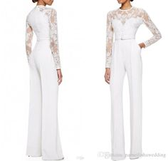 2015 White Elie Saab Mother Of The Bride Pant Suits Jumpsuit With Long Sleeves Lace Embellished Women Formal Evening Wear Custom Made Evening Dresses Ireland Formal Dress Shops From Nameilishawedding, $109.95  Dhgate.Com