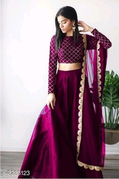 OFF Bageshri Fabulous Mulberry Silk Women's Lehengas Vol 3 Lehenga Designs, Salwar Designs, Kurta Designs Women, Kurti Designs Party Wear, Saree Blouse Designs, Indian Wedding Outfits, Bridal Outfits, Indian Outfits, Long Gown Dress