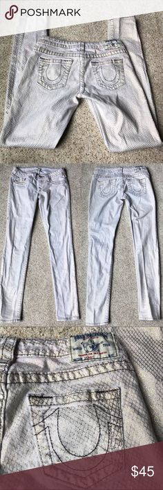 "True Religion Metallic Snakeskin Skinny a Jeans In good condition; minor discoloration shown on last photo; inseam 31"" True Religion Jeans Skinny"