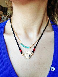 Gold Evil Eye Necklace  Leather Evil Eye Necklace Black by KEYYISE, $36.00