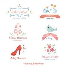 Variety of cute shop logos Free Vector