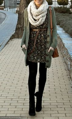 Chunky cardigan over an adorable dress. Add on a scarf and you're good to go!